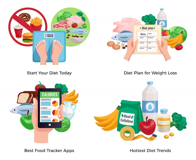 가장 인기있는 다이어트 트렌드와 최고의 음식 추적으로 설정된 체중 감량 구성을위한 다이어트