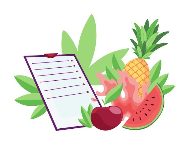 다이어트 건강 한 라이프 스타일 배너 템플릿입니다. 과일 구성, 체크리스트가 있는 건강 식품. 적절한 영양 및 체중 관리의 개념입니다. 노트북에 다이어트 계획입니다.