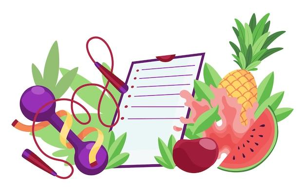 다이어트 건강 한 라이프 스타일 배너 템플릿입니다. 체크리스트가 있는 스포츠 장비 및 건강 식품. 적절한 영양 및 체중 관리의 개념입니다. 노트북에 다이어트 계획