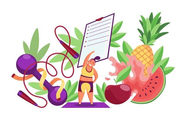 ダイエット健康的なライフスタイルバナーテンプレート。チェックリスト付きのスポーツ用品と健康食品。適切な栄養と体重管理の概念。ノートのダイエット計画。