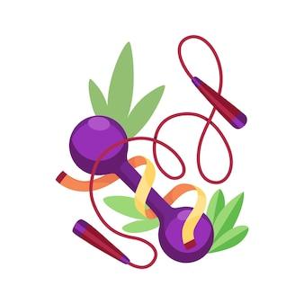 ダイエット健康的なライフスタイルバナーテンプレート。スポーツ用品のダンベルと縄跳び。重量管理のバナーの概念
