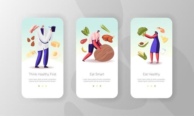 다이어트, 건강한 라이프 스타일, 유기농 식품 선택 모바일 앱 페이지 온보드 화면 템플릿.