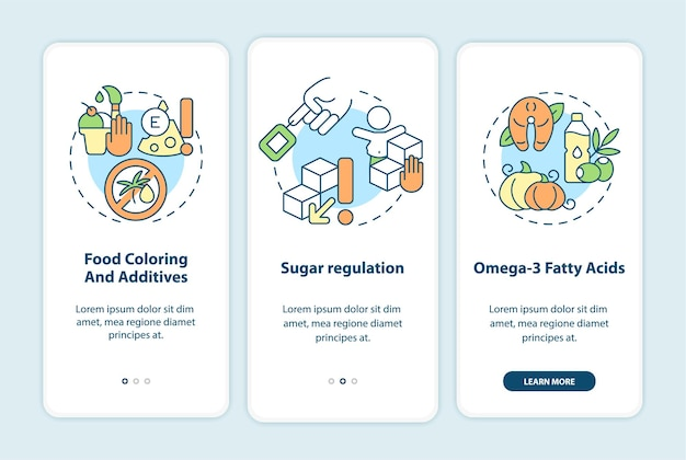 Diet and hyperactive behavior onboarding mobile app page screen. sugar regulation walkthrough 3 steps graphic instructions with concepts. ui, ux, gui vector template with linear color illustrations
