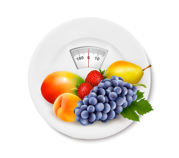 Diet meal. fruit in a plate with measuring tape. concept of diet.