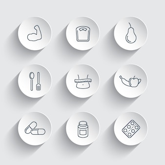 Diet, nutrition line icons on round 3d shapes, vector illustration