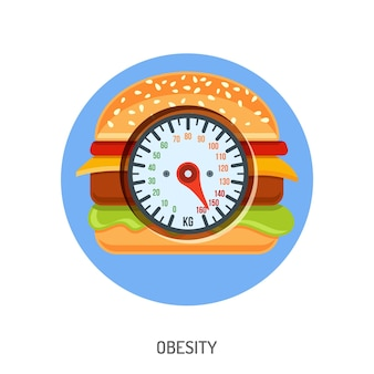 Diet, obesity and overweight concept with hamburger and scales.