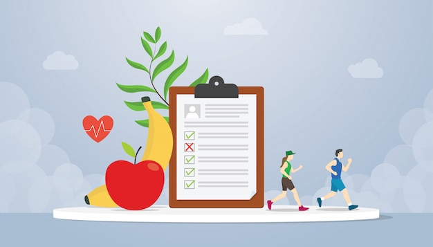Diet plan concept with people running health with healthy food fruit banana and apple - vector
