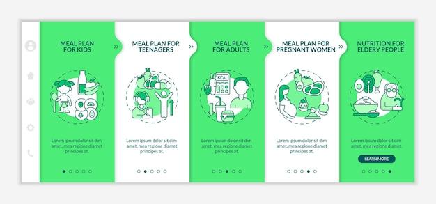さまざまな年齢層のオンボーディングベクターテンプレートのダイエット計画。アイコン付きのレスポンシブモバイルサイト。 webページのウォークスルー5ステップ画面。子供のための食事、線形のイラストと大人の色の概念