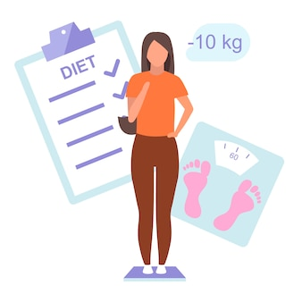 Diet plan and result  flat illustration. young woman controlling weight standing on scales. slim girl happy about body mass loss isolated cartoon character on white background