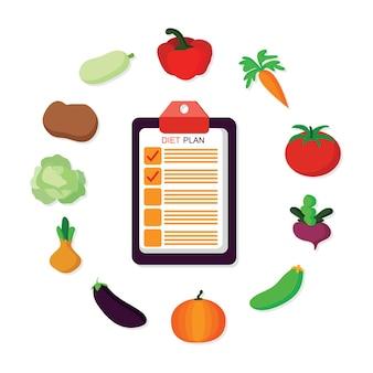 Diet planning flat vector illustration