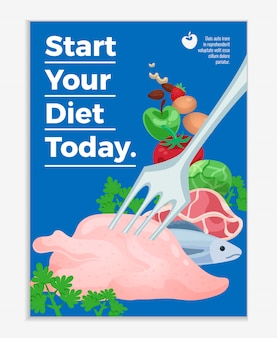 Diet poster with raw meat products and vegetables and text start your diet today cartoon illustration