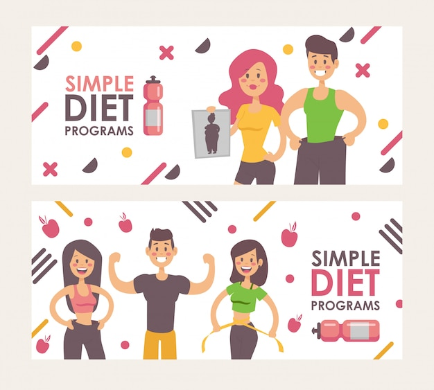 Diet for weight loss,  illustration banner.