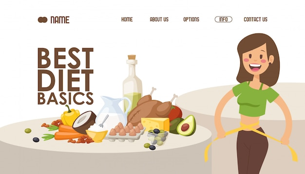 Diet for weight loss, website design  illustration.