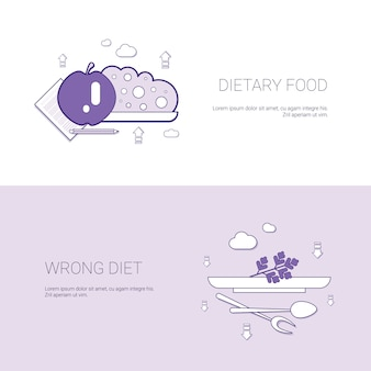 Dietary food and wrong diet concept template web banner