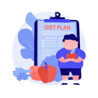 ダイエット。ハンバーガーやジャンクフードの代わりにリンゴやニンジンを食べる太りすぎの男の漫画のキャラクター。減量、栄養、バランスの取れた食事。ベクトル分離概念比喩イラスト