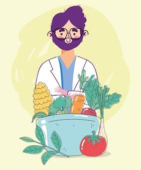 Диетолог доктор свежая рыночная тарелка чаша органическая здоровая пища с фруктами и овощами
