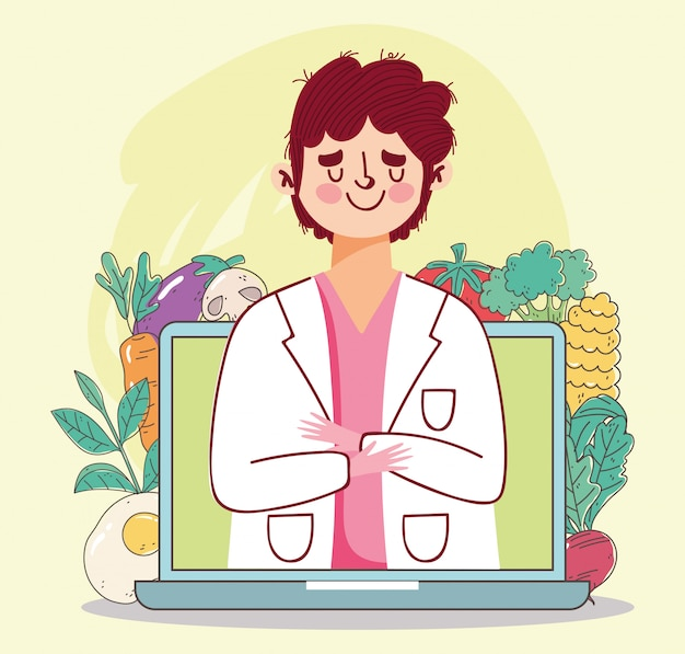 栄養士医師のラップトップと食材の新鮮な市場の果物と野菜のイラストと有機健康食品