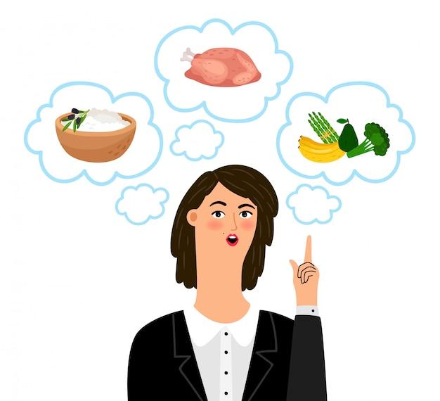 여자 영양사와 영양학 개념