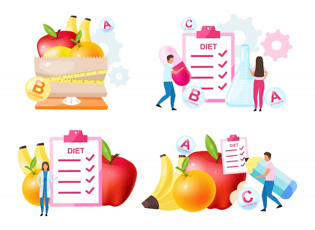 Dietology experts flat illustrations set. fresh vitamins containing fruits. choosing healthy nutrition ingredients. scheduling diet meals. nutritionist, doctor isolated cartoon characters