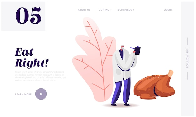 Dietology science, healthy nutrition website landing page.
