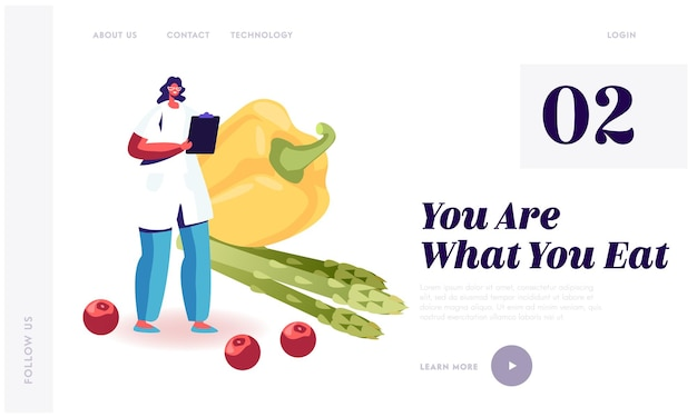 Dietology science and healthy nutrition website landing page.