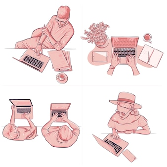 Diferent people working at office using laptop drawing