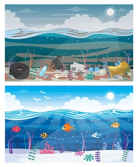 Difference between clean and dirty sea