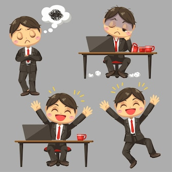Difference feeling of businessman working in busy hour in cartoon character flat illustration on