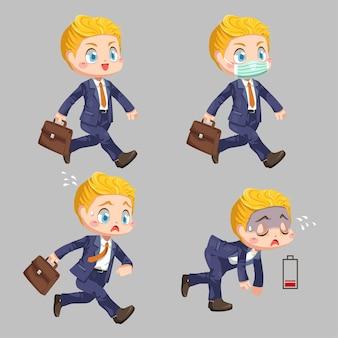 바쁜 시간에 일하고 피곤한 사업가의 차이 느낌은 흰색 배경에 만화 캐릭터 평면 그림에서 배터리 부족을 보입니다.