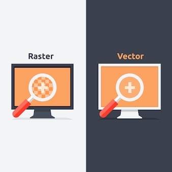 Difference between vector and raster format shown on the monitors