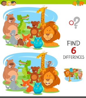 Differences educational game for kids with animals