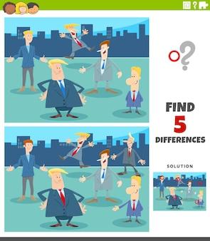 Различия обучающая игра с мультяшными бизнесменами Premium векторы