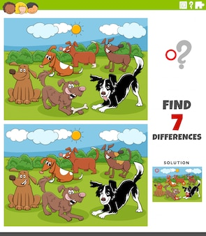 Differences educational game with cartoon dogs group