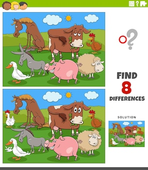 Differences educational game with cartoon farm animals