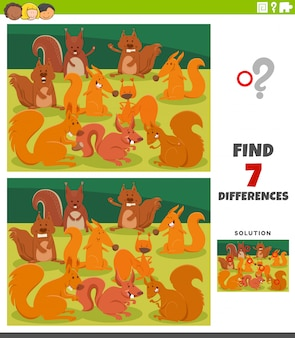 Differences educational game with cartoon squirrels