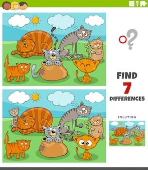 Differences educational game with cats group