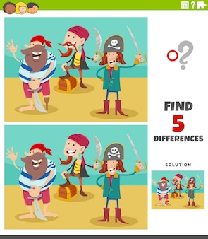 Differences educational game with pirate characters