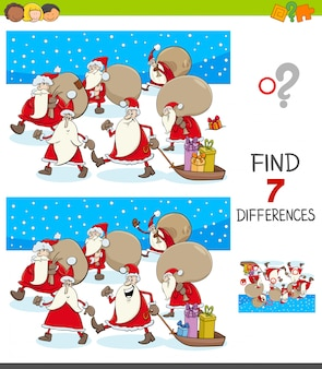 Differences educational game with santa claus