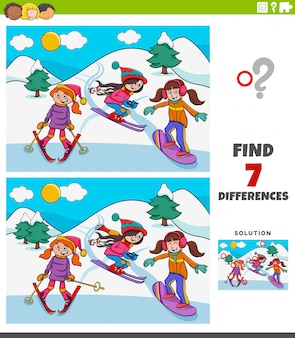 Differences educational game with skiing girls