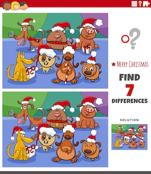 クリスマスの時期に犬と子供のための違いの教育タスク