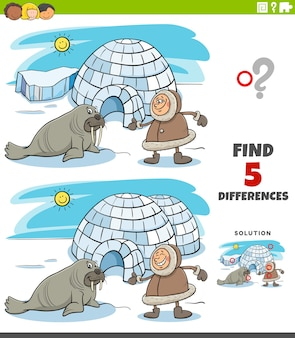 Differences educational task for kids with eskimo and igloo and walrus