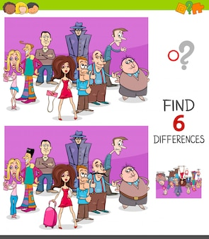 Differences educational task for kids with people