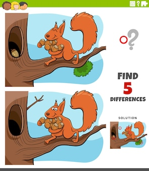 Differences educational task for kids with squirrel and acorns