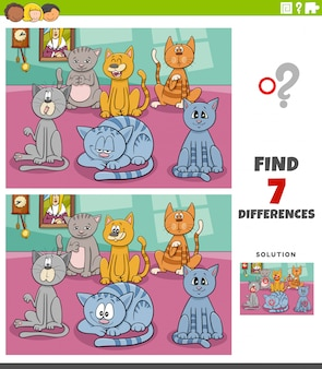 Differences educational task with cartoon cats group