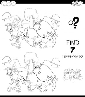 Differences game for children coloring book