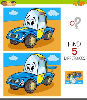 Differences game for children with car