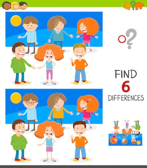 Differences game for children with cute kids