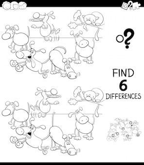 Differences game for children with dogs color book