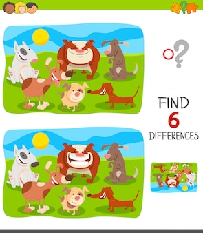 Differences game for children with dogs and puppies