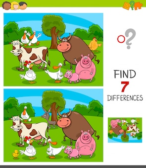 Differences game for children with farm animals